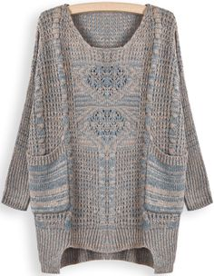 Khaki Blue Long Sleeve Pockets Loose Sweater US$32.79