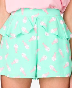 High-Waisted Ice Cream Print Shorts | FOREVER21 - 2024178870