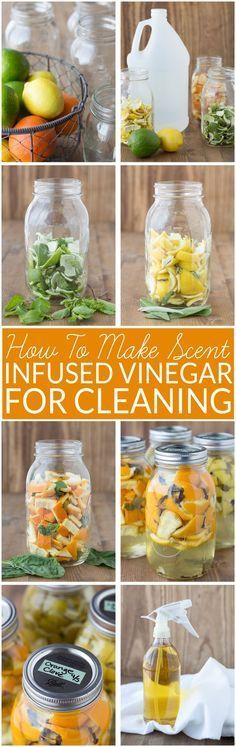 How to Make Scented Vinegar for Cleaning- This DIY cleaner made with citrus peels and herbs is easy to make and non-toxic. It cuts through grease with ease. Combines the cleaning power of vinegar and citus oil. If you love using vinegar for green cleaning but want to make it smell better, try this! All-natural, non-toxic cleaning. No essential oils. #wastereduction