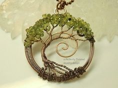 Wire Wrapped Tree of Life Bonsai Pendant, Peridot Gemstones, Handmade Jewelry, Antiqued Copper, Wire Tree Jewelry, August Birthstone, Perfectly