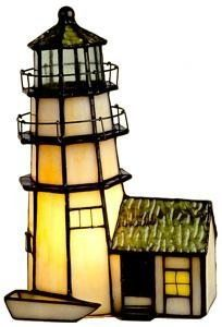 Lighthouse shaped stained glass lamp