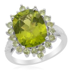 Liquidation Channel: Hebei Peridot Ring in Platinum Overlay Sterling Silver (Nickel Free)