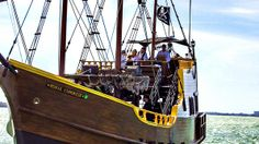 Florida- the Royal Conquest Pirate Ship hits the high seas off the coast of Tampa Bay