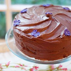 Chocolate-Chocolate Cake - light chocolately cake layers with a luscious, rich cocoa frosting. From @NevrEnoughThyme http://www.lanascooking.com/chocolate-chocolate-cake