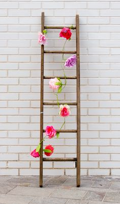 Paper flower ladder from the Valentine's Day vignette at The Village Haberdashery in London