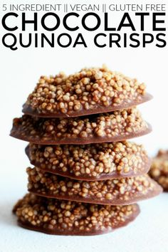 If you like chocolate crunch bars, these healthy Chocolate Quinoa Crisps will be your new best friend! They're vegan, no bake, and SO FUN to eat! thetoastedpinenut.com #thetoastedpinenut #nobake #vegan #glutenfree #healthy #dessert #healthydessert #chocolate #crunch