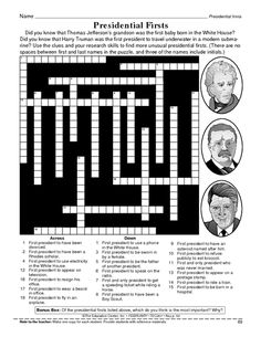 A crossword puzzle filled with trivia about American presidents ...