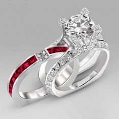 $109 TODAY http://www.evolees.com/amazing-two-in-one-big-round-cut-diamond-wedding-ring-set-with-red-ruby.html | Engravable amazing Two-in-one Big Round Cut Diamond Wedding Ring Set With Red Ruby #Evoleesring
