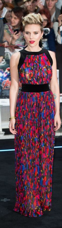 Scarlett Johansson in a colorful Balmain maxidress at the Avengers: Age of Ultron premiere.