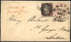 Postal History and Covers: Devon: Exeter: 1842 (July 25) 1d. pink stationery envelope (Huggins EP4b), used from Broadclist to London, cancelled by Exeter datestamp code ''C'' only and uprated with 1841 1d. red-brown JH (just touched at top), tied by black Maltese Cross, has ''Broadclist/Penny Post'' in red.