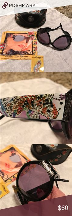 Ed Hardy Koi Vintage Tattoo Sunglasses Authentic Ed Hardy Vintage Tattoo Sunglasses with sought after rare Koi Fish Design!  Excellent new condition.  Comes as shown here - with it's original case, cleaning cloth, booklet and replacement crystals. Ed Hardy Accessories Sunglasses