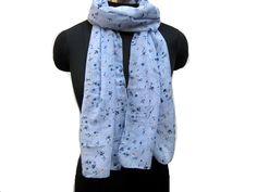 fashion scarf/ multicolored  scarf/ blue scarf/ cotton scarf/ floral scarf/ gift scarf / gift ideas. by vibrantscarves on Etsy