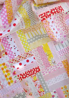 "Custom Order Baby Girl Quilt | Red Pepper Quilts. Uses strips cut 2"" by &7""."