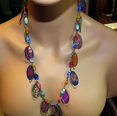 Vintage Multi Colored Necklace Metal n Glass by SmArtsyJewelry, $16.00