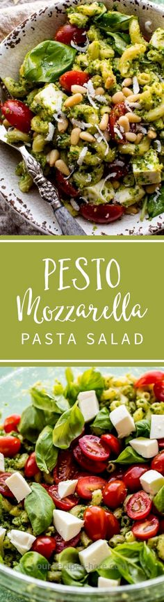 Kale pesto mozzarella pasta salad is an easy summer pasta salad! It's absolutely delicious, feeds a crowd, and you can make it ahead.
