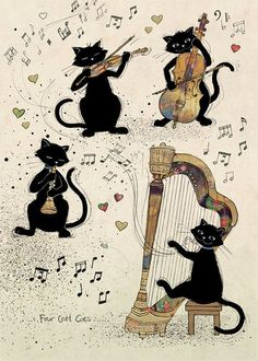 bug art Four Cool Cats greeting card, playing musical instruments. Cat art by Jane Crowther. Cool Cats, I Love Cats, Crazy Cats, Image Chat, Bug Art, Cat Cards, Greeting Cards, Vintage Cat, Cat Drawing
