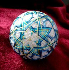 Japanese Temari ball, Teachers gift, Modern home decor, Decorative ornament, Silk embroidered sphere, Blue and yellow stars, Display art by MonaSaadHandmade on Etsy