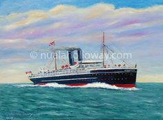 """RMS Leinster"" by Nuala Holloway - Oil on Canvas Seaside, Oil On Canvas, Artist, Painting, Beach, Painted Canvas, Artists, Paintings, Oil Paintings"