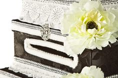 Black and white with rhinestones wedding card box