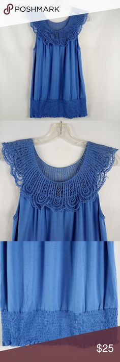 """Cable & Gauge Blouse Size S Blue Sleeveless Bust/Chest: 18"""" Length: 28"""" Condition: Clean, No holes, rips or pilling Add'l Notes: LOC ID: BC-18  Buy Now, Like or """"Add to Bundle"""" to Receive a Private Offer. Bundle 3+ Items You Love for an Automatic 15% Off Discount!  We enjoy giving excellent Service, +Communication, and shipping your purchase the same day or next business day, so you receive your items as quickly as possible. Thank you for shopping with us at ShebrewTrading Store! Cable…"""