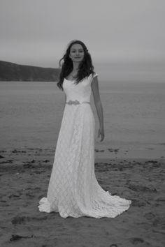 Christine Trewinnard wedding dress. Joy on the beach.