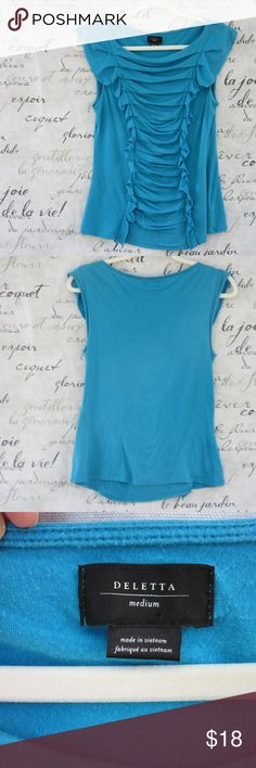 """Anthropologie Deletta Ruched Aqua Top Sleeveless top is ruched down front with side ruffles. Made of pima cotton; modal blend. GUC but has a little wear. Still has a lot of life. 23 1/2"""" long; 13"""" across underarms. Could fit a M or a S. Anthropologie Tops"""