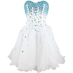 Strapless a Line Blue Crystal White Organza Cheap Homecoming Dress... ($39) ❤ liked on Polyvore