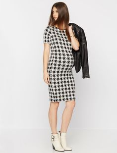 3/4 sleeve houndstooth maternity dress by Isabella Oliver available at A Pea in the Pod | Winter Maternity Essentials