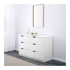 IKEA - NORDLI, 6-drawer dresser, , You can use one modular chest of drawers or combine several to get a storage solution that perfectly suits your space.You can easily create your own personal design by mixing chests of different colors.Integrated damper catches the running drawer and closes it slowly, silently and softly.The concealed drawer runners ensure that drawers run smoothly even when heavily loaded.Adjustable feet make it possible to compensate for any irregularities in the floor.