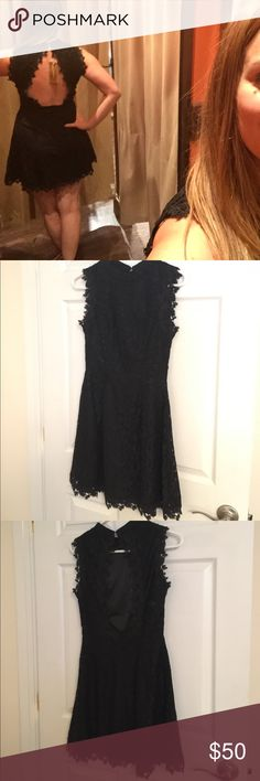 LBD with open back and high neck - size S. Stunning! This dress will turn heads. Little black lace dress with an open back and high neck. A-line mini skirt. Zip back and button closure at neck. Worn once. Francesca's Collections Dresses Backless