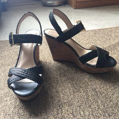 Black wedges Black strappy sandals with cork wedge. Worn once-In perfect condition!! Size US 8M, approx. 3.5 inch heel Arturo Chiang Shoes Wedges