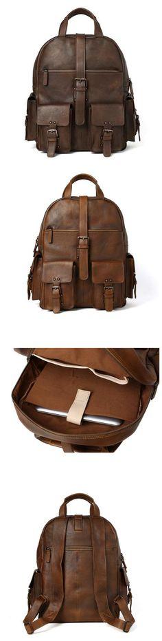 Backpack Men Full Grain Handmade Leather Backpack Cool Backpacks