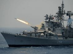 Israel Aerospace Industries Seals $1.3 Billion in Defense Deals with India.  A rocket is fired from the Indian Navy destroyer ship INS Ranvir during an exercise drill in the Bay Of Bengal off the coast of Chennai on April 18, 2017. / AFP PHOTO / ARUN SANKAR (Photo credit should read ARUN SANKAR/AFP/Getty Images)
