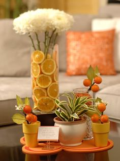 Fresh fruit wedding centerpieces using whole or sliced fruit.one of the best budget wedding ideas for or your spring or summer wedding. Orange Centerpieces, Flower Centerpieces, Wedding Centerpieces, Centrepieces, Centerpiece Ideas, Unique Centerpieces, Shower Orange, Baby Shower Decorations, Table Decorations