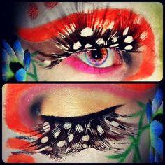 Tropical rainforest inspired eye make-up.