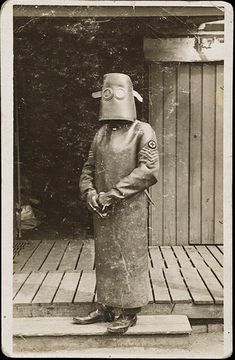 Radiology Nurse Technician dressed in protective gear, WWI France 1918