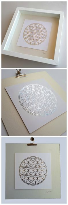 Flower of life wall art, print on foil, Sacred geometry art design, paper wall art, silver print paper collage friend gift, yoga print, house gift