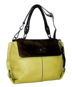 Look at this  zulilyfind! Green Lacey Leather Convertible Tote  zulilyfinds  Convertible a705c32fe4985