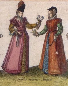 Joris Hoefnagel, Nonsuch Palace 1568 -English noblewomen detail