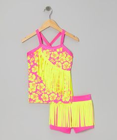 Take a look at this Neon Yellow & Pink Fringe Dance Tank & Dance Shorts by Lexi-Luu Designs on #zulily today!