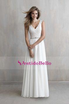 2016 elegante de la boda vestidos de A-Line V-cuello de la gasa de tren capilla completa Beadning US$ 149.99 VTOPQ9JQ4F5 - vestidobello.com