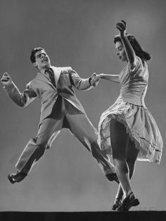 Kaye Popp and Stanley Catron Demonstrating a Step of the Lindy Hop Premium Photographic Print