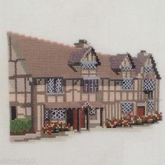 Completed Cross Stitch Shakespeare s Birthplace Stratford on Linen Framed