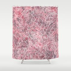 """""""Burgundy doodles"""" Shower Curtain by Savousepate on Society6 #showercurtain #bathroom #bathroomdecor #homedecor #pattern #scrolls #doodles #zentangles #abstract #red #white #burgundy #pink"""