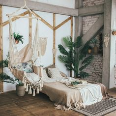 Rocking-chair with macrame hanging chair rocking-chair Bohemian Bedroom Boho chair Hammock hanging macrame Rockingchair Universal Bedroom Makeover, Bedroom Design, Boho Chair, Bohemian Bedroom Decor, Boho Room, Bedroom Decor, Aesthetic Rooms, Aesthetic Bedroom, Apartment Decor