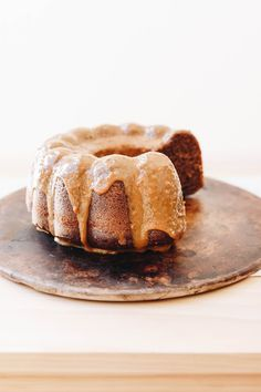 espresso and hazelnut bundt cake with dulce de leche drizzle