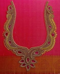 Top latest maggam work blouse designs for wedding saree. Latest heavy Maggam work bridal blouse designs for sarees. Simple Blouse Designs, Stylish Blouse Design, Blouse Neck Designs, Wedding Saree Blouse Designs, Pattu Saree Blouse Designs, Saree Wedding, Embroidery Neck Designs, Hand Embroidery, Wedding Embroidery