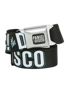 Buckle-Down brand seat belt belt with Panic! At The Disco logos design and an authentic automotive style seat belt buckle. Seat Belt Buckle, Belt Buckles, Emo Scene, Panic! At The Disco, Pierce The Veil, Band Merch, Emo Outfits, Hot Topic, Disney