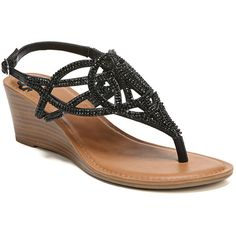 Fergalicious Charity Women's Wedge Sandals ($50) ❤ liked on Polyvore featuring shoes, sandals, black, black wedge heel sandals, jeweled wedge sandals, fergalicious shoes, black open toe sandals and open toe wedge sandals