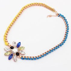 Lovely Gold Plated Colorful Metal Chain Hangle Colorful Flower Collar Necklace | eBay
